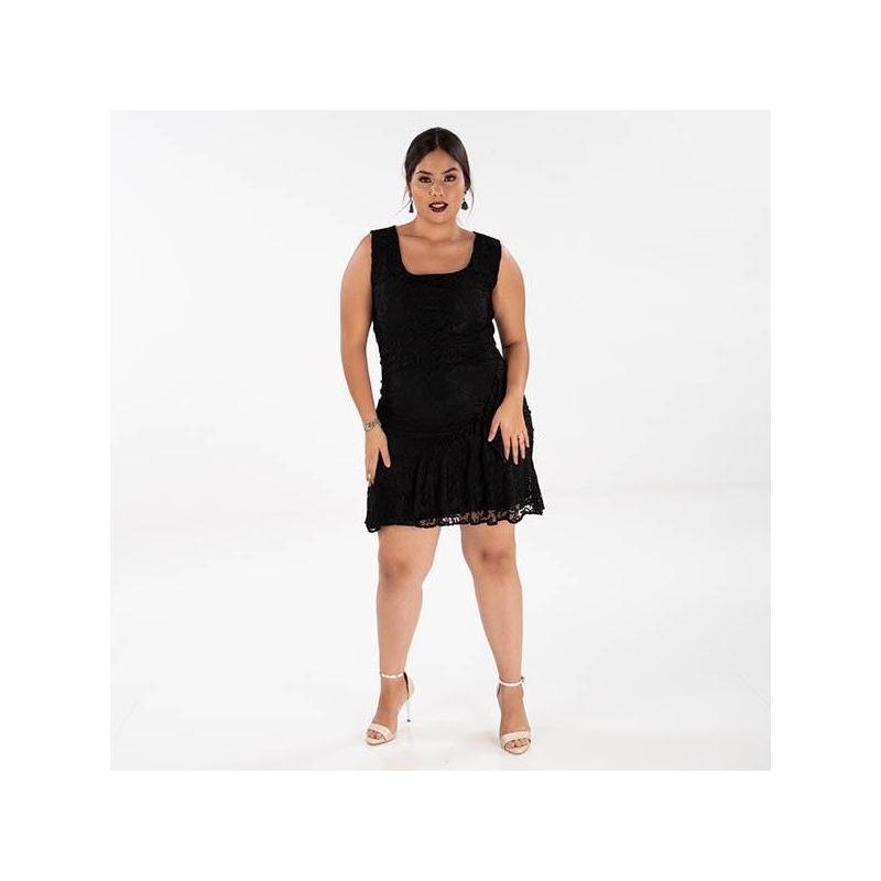 Vestido corto negro encaje 014519P