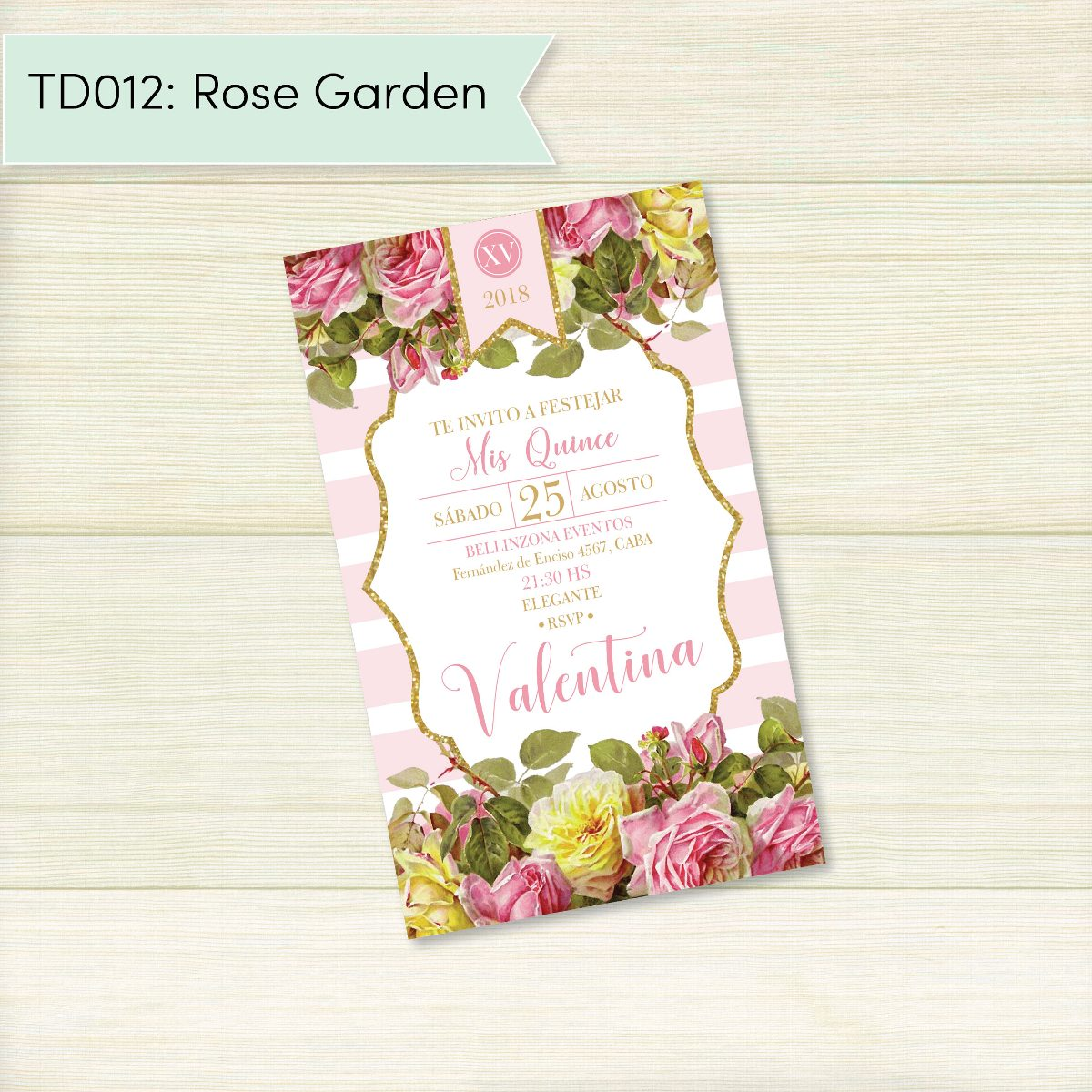 Invitación digital TD012 (Rose Garden)