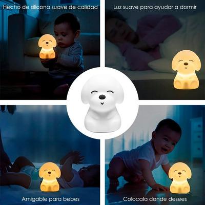 Lampara Velador Infantil Perro Silicona Multi Colores Led Mc