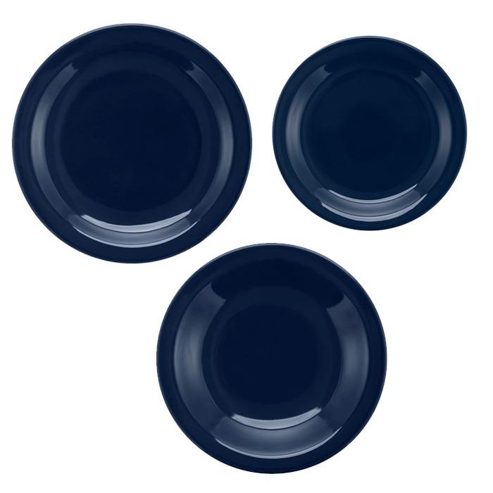 Juego Vajilla 18 Piezas Ceramica Oxford Azul Platos