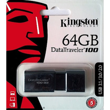 Pendrive 64gb Kingston Original Dt100g3 Usb 3.1 Pen Drive