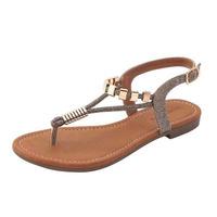Sandalia piso bronce con broches 004354