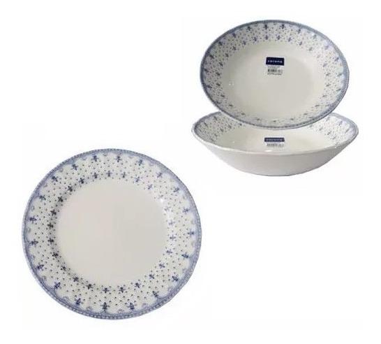12 Pzs Corona Porcelana Plato Playo+hondo Estilo Ingles