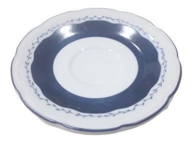 Taza De Cafe Con Plato Tsuji Porcelana 1830 Flores Azules
