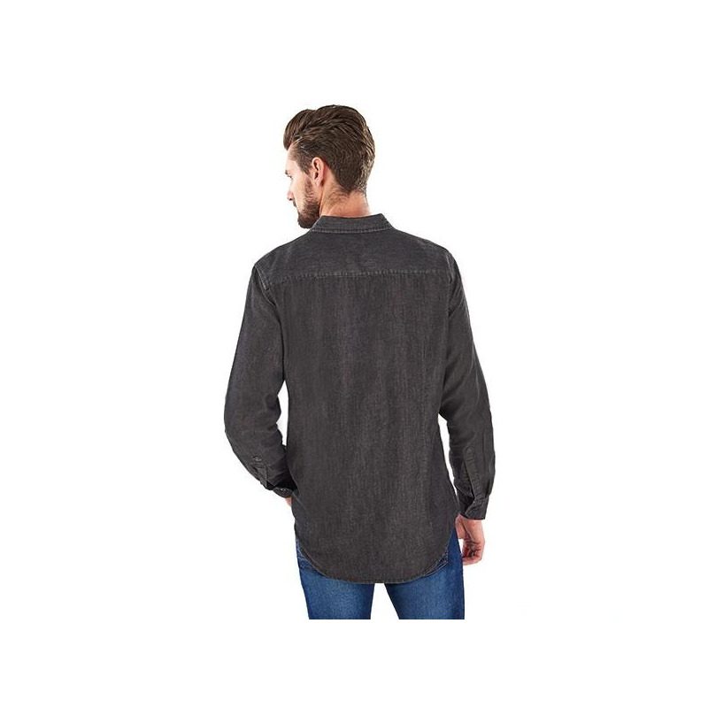 Camisa mezclilla negra manga larga 014579