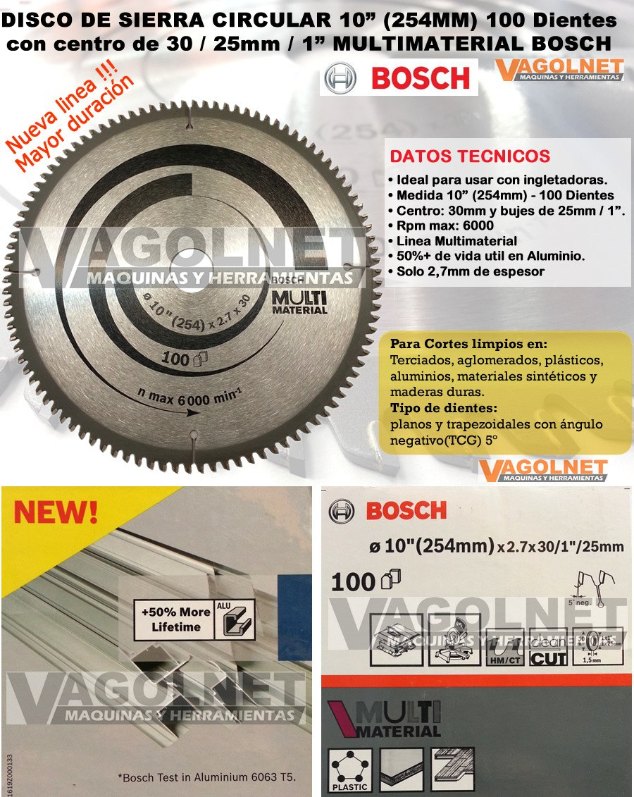 Disco De Sierra Circular 254mm 100d Multimaterial Bosch