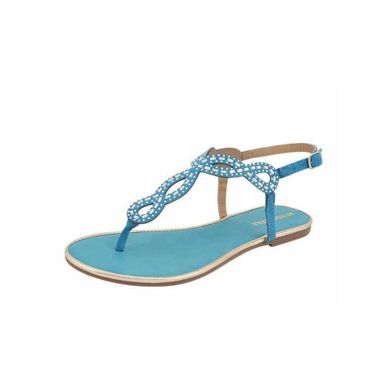 Sandalia azul con pedrería  017141
