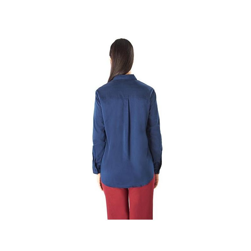 Blusa azul manga larga con perlas 019185