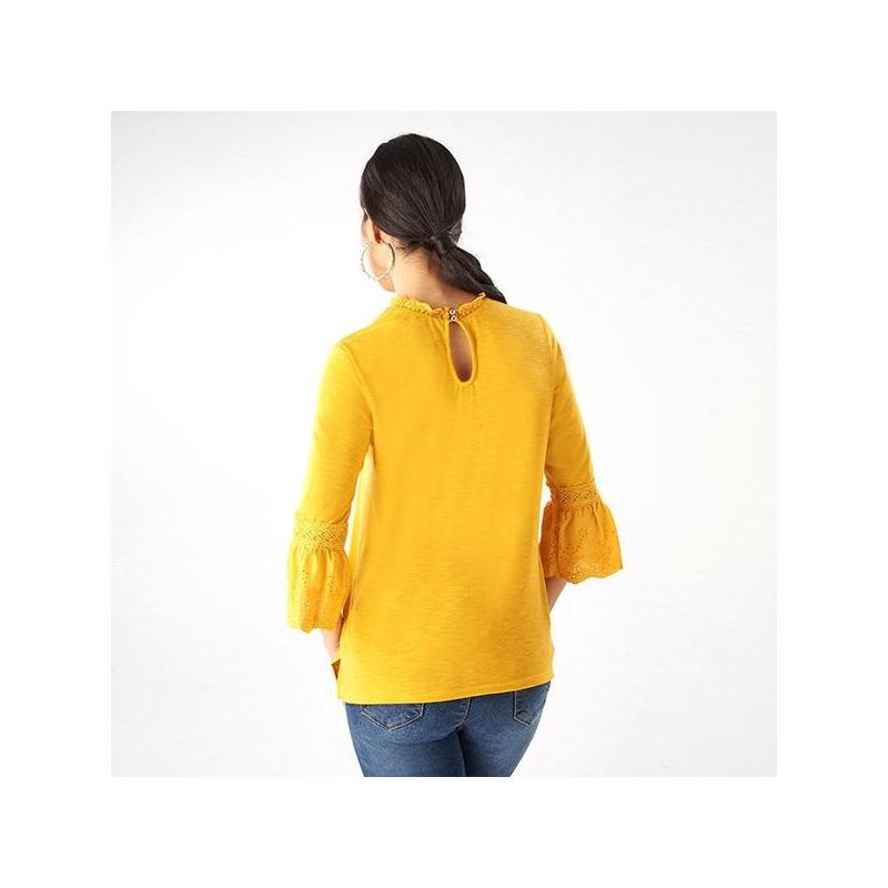 Blusa amarilla bordada manga 3/4 019216