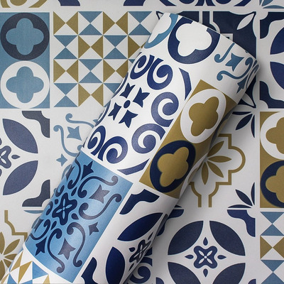 Adesivo de azulejo português decorativo azul  Larg. 1,22 m