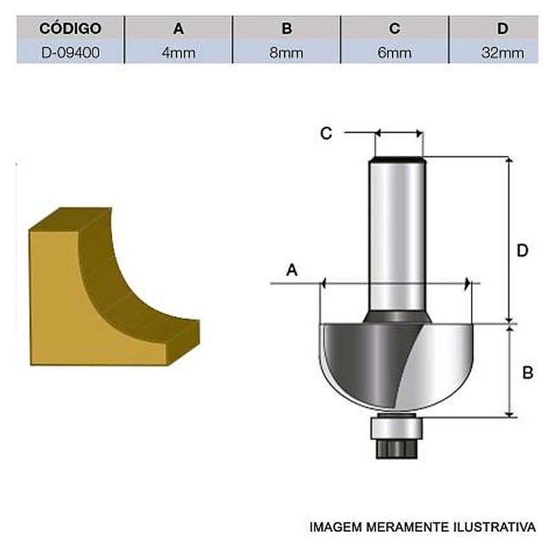 Fresa p/Moldura Côncava c/Rolamento HT 4 mm -D-09400 - Makita