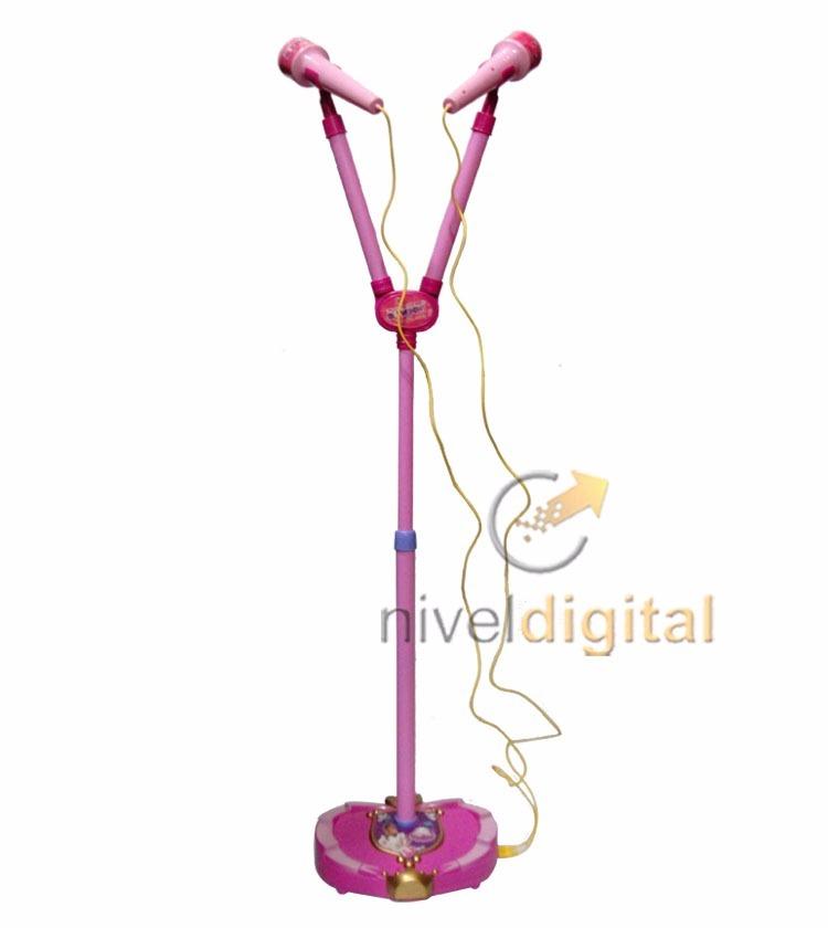 Microfono Doble Rosa Con Pie Extensible Regulable Nena
