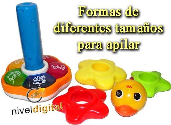 Pato Torre Apilable Didactico Bilingue Luz Melodias Colores