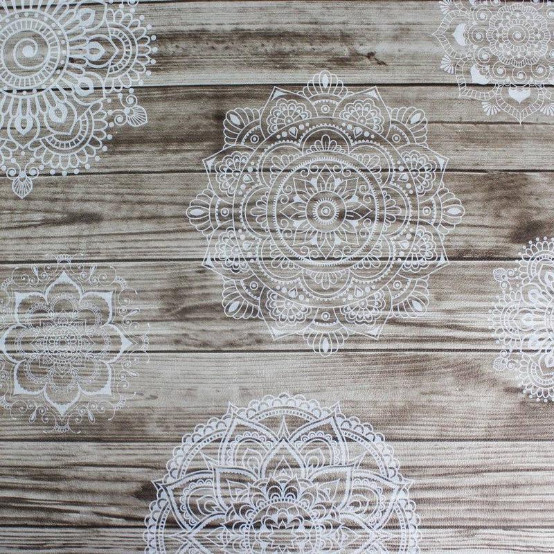 Tecido corino mehndi cinza mandala - Larg. 1,40 m