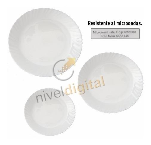 Set X 18 Platos Playo Postre Vidrio Blanco Resist Microondas