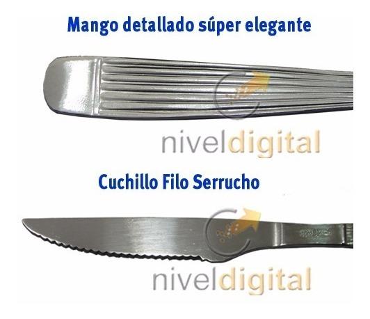 12 Cubiertos Carol Cuchillo Serrucho Y Tenedor Acero Inox