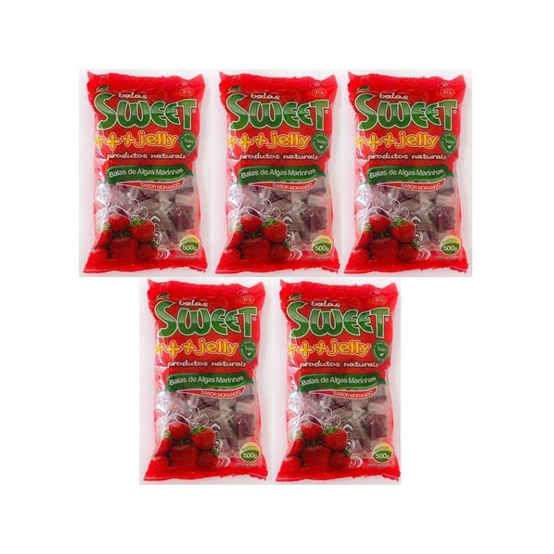 Balas de Algas Sweet Jelly Sabor Morango - Kit 5 x 500g