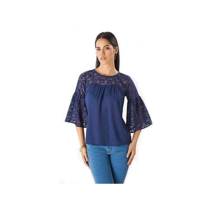 Blusa azul encaje manga 3/4 014371