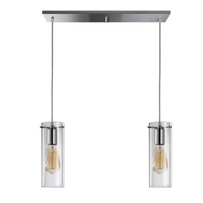 Colgante 2 Luces Cromo Deco Apto Led Cilindro Transparente
