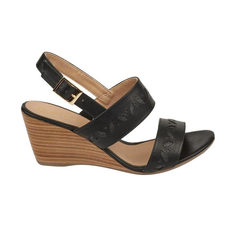 Sandalia plataforma negra con pulseras 016718