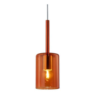 Colgante 1 Luz Fat Ambar Apto Led Vidrio Deco Moderno