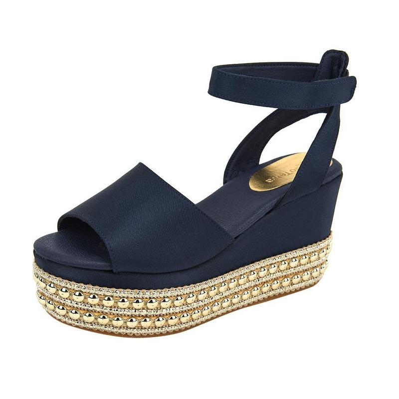 Sandalia De Plataforma Azul Con Perlas 020110