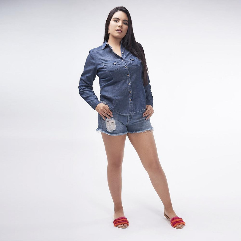 Blusa Azul Mezclilla Con Botones 019321