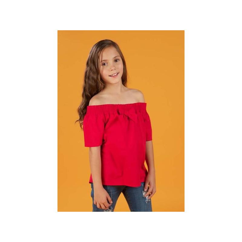 Blusa roja hombro descubierto 011100