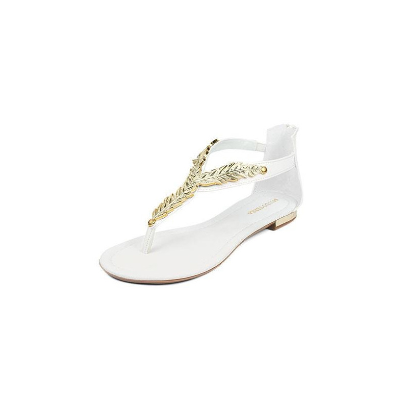 Sandalia piso blanca con dorado  016785