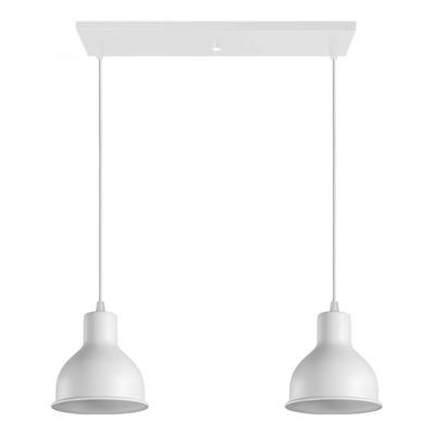 Colgante 2 Luces Campana Blanca Deco Moderno Luz Desing