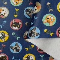 Tecido corino gatinhos kitty - Larg. 1,40 m