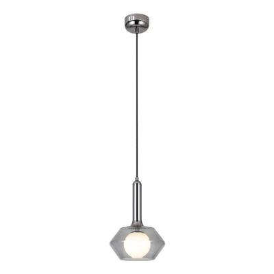 Lámpara Colgante Geros Vidrio Fume Led 5w Deco Moderno Lk