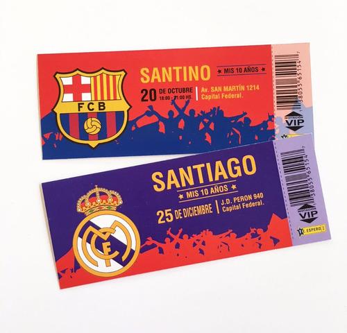 Invitaciones River Boca Tarjetas Cumple Ticket Fútbol X15u