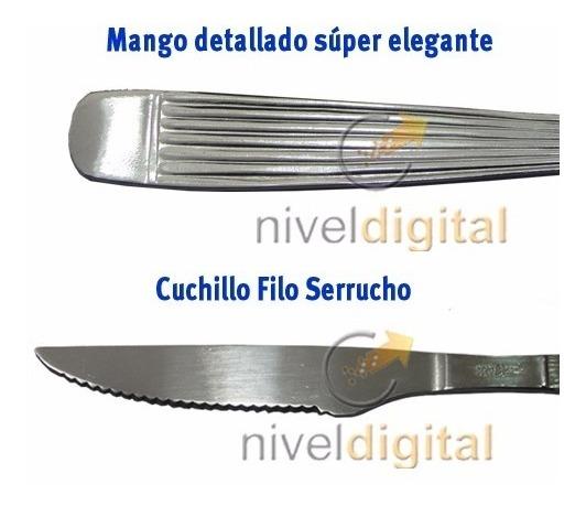 12 Cuchillos Carol Filo Serrucho Asado Carne Acero Inoxidabl