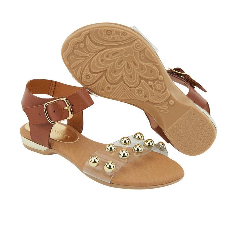 Sandalia De Piso Camel Con Perlas 014643