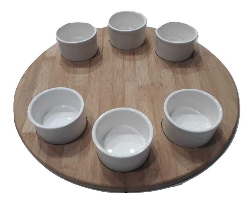 Tabla De Bambu Con Dips Ceramicos 40 Cm Picadas Bambú Bamboo