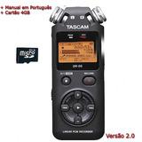 Gravador de Áudio WAV e MP3 + cartão MicroSD 4GB Tascam DR-05 Original