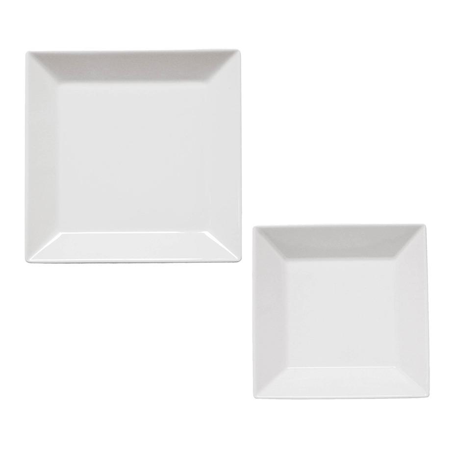 Set X 12 Pzs Platos Vajilla Porcelana Cuadrado Blanco Oxford