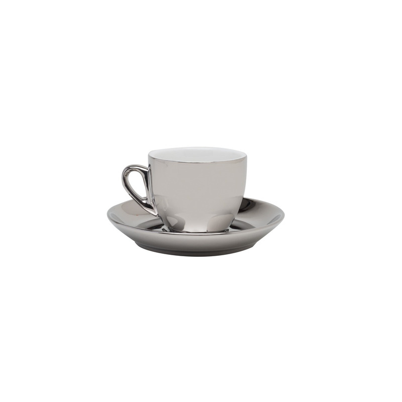 Cj 6 Xicaras De Porcelana P/Cafe C/Pires Prata 90Ml