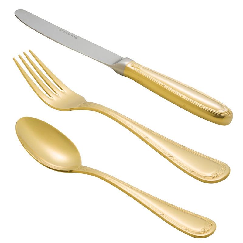 Faqueiro Croisé Dourado em Aço Inox - Wolff 31077050