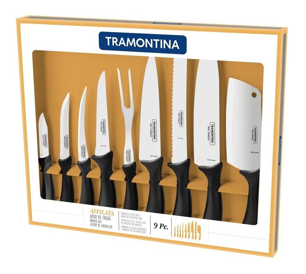 Set 9 Pz Cuchillos Trinchante Tramontina Affilata Acero Inox