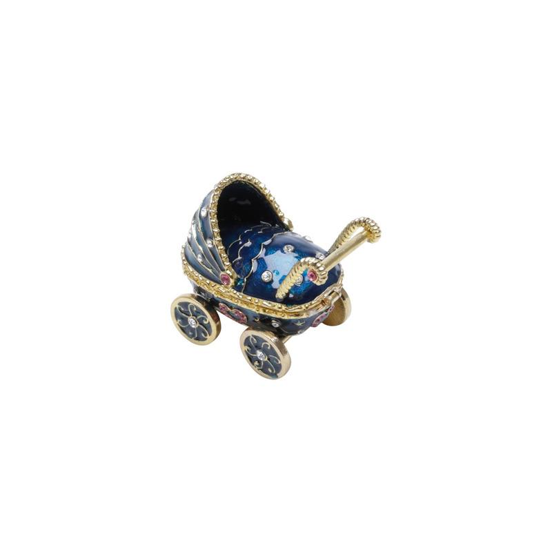 Porta-Joias De Zamac Carrinho De Bebe Azul 7,5X4,5X6Cm