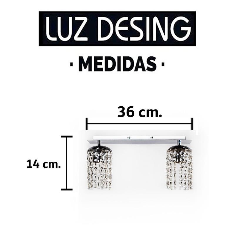 Araña Plafon Cairel Cromado Lineal Lyon 2 Luces Deco Moderno