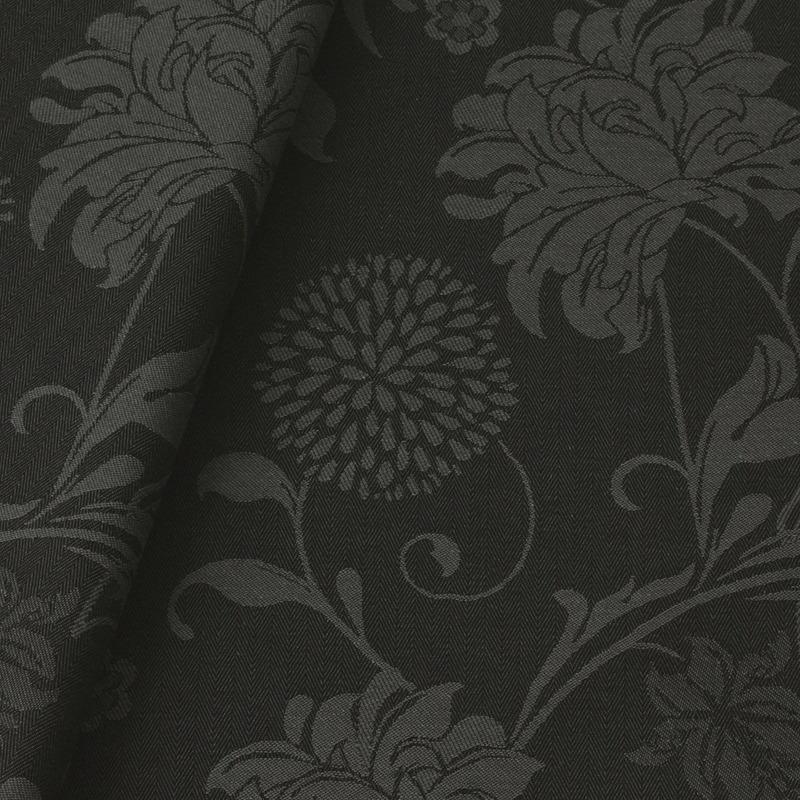 Tecido jacquard  floral em ramos - cinza/preto -  Impermeável - Coleção Panamá