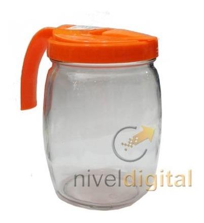 Jarra De Vidrio 1 2 Litros Con Tapa Plastica Vertedor Manija