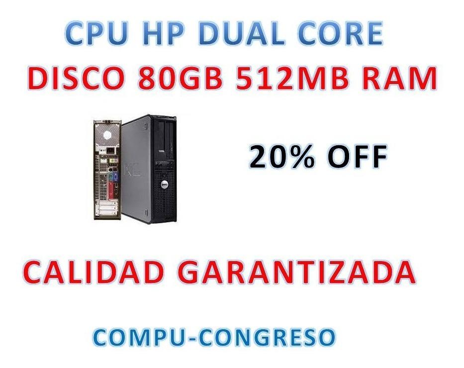 Cpu Hp Core Duo Completa Disco 80 Gb Ddr2 Lista Gtia