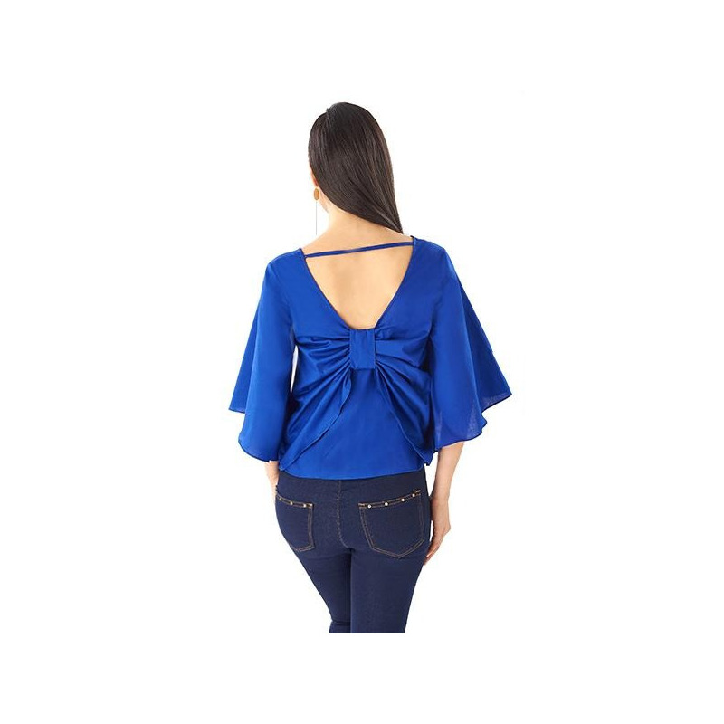 Blusa azul manga 3/4 moño en espalda 014360