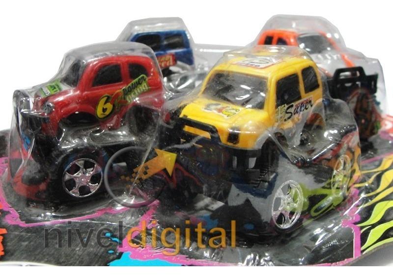 Set De 4 Mini Camionetas 4x4 En Blister Niño Cumpleaños
