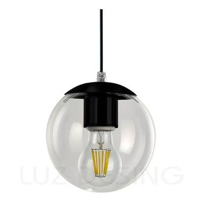 Colgante 1 Luz Globo 15cm Negro Moderno Apto Led E-27