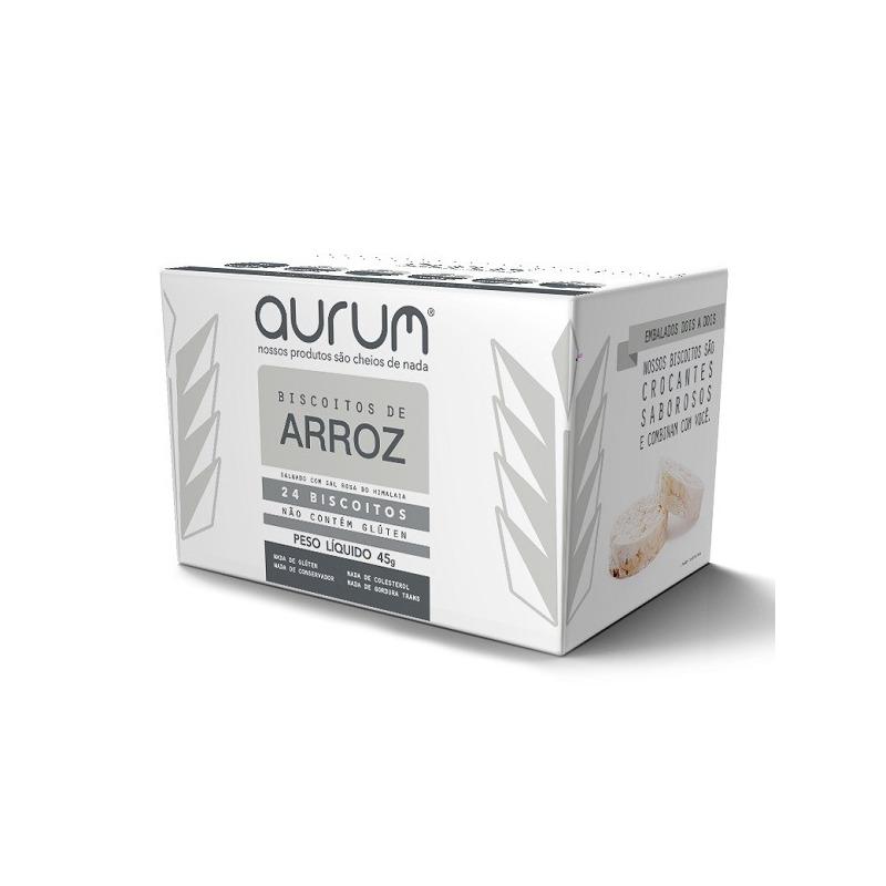 Biscoito de Arroz com Sal Rosa do Himalaia - 45g Aurum